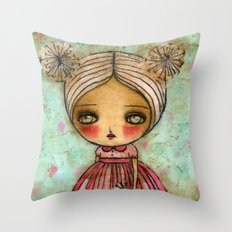 Dandelion Girl in Red And Pink Throw Pillow