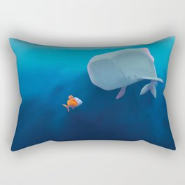The little sperm whale and the fish Rectangular Pillow