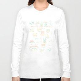 Savannah, Georgia Illustrated Calligraphy Map Long Sleeve T-shirt