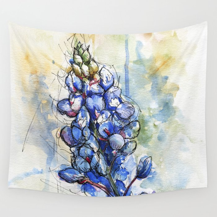 b3d6609a6a566 Spring Watercolor Texas Bluebonnet Flowers Wall Tapestry by elasteel ...