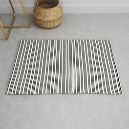 Small Black and White Piano Stripes Rug