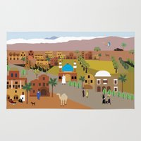 arab Area & Throw Rugs featuring Peaceful Arab village In the desert by Design4u Studio