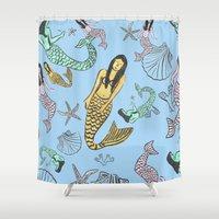 mermaids Shower Curtains featuring Mermaids by Marmolea