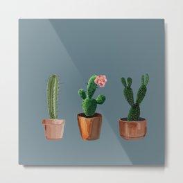 Three Cacti On Blue Background Metal Print