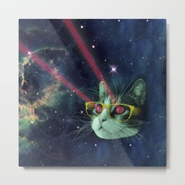 Laser cat with glasses in space Metal Print