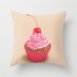 Pink cupcake colored pencil realistic drawing Throw Pillow