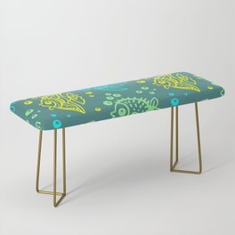 Fishes Batik Style Seamless Pattern Bench