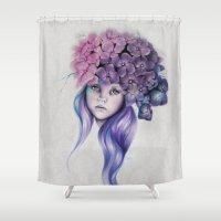 hydrangea Shower Curtains featuring Hydrangea by Sheena Pike ART