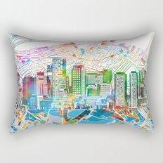 boston city skyline map Rectangular Pillow