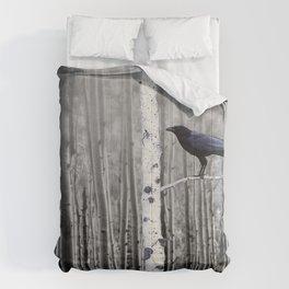 Black Bird Crow Tree Birch Forrest Black White Country Art A135 Comforters