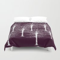 forrest Duvet Covers featuring Ghost Forrest by Helle Gade