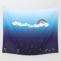 night sky Wall Tapestries featuring Day Sky/ Night Sky by Constança Nobre