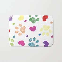 Doodle colorful paw prints with hearts seamless fabric design pattern white background Bath Mat