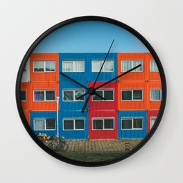 Colorful Container house Amsterdam Wall Clock