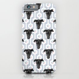 Cute Black Dog Faces on Abstract Gray Geometric Pattern iPhone Case