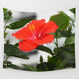 red hibiscus Wall Tapestry