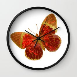 Gold Glitter Scarlet Red Butterfly Design Wall Clock