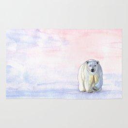 Polar bear in the icy dawn Rug