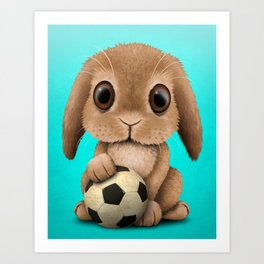 Cute Baby Bunny With Football Soccer Ball Art Print