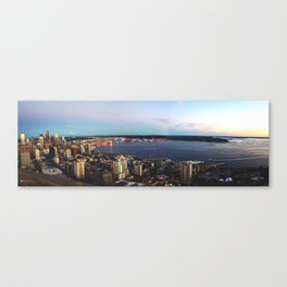 Seattle Summer Sunset from the Needle Panorama Canvas Print