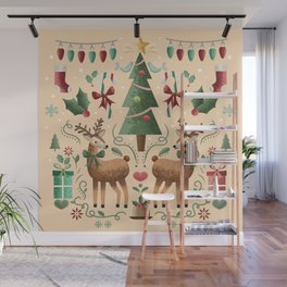 Vintage Holiday Christmas Jubilee Wall Mural