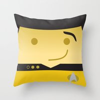 data Throw Pillows featuring Mr. Data by Sam Del Valle