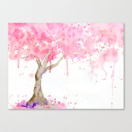 Watercolor Abstract Cherry Tree Pink Canvas Print