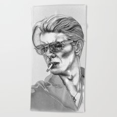 Black and White Bowie Beach Towel
