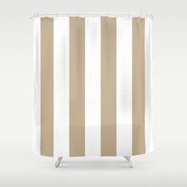 Vertical Stripes - White and Khaki Brown Shower Curtain