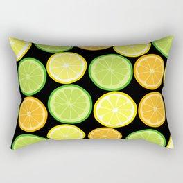Citrus Slices on Black Rectangular Pillow