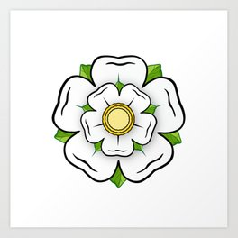 White Rose of York Flower, Blue Flag Heraldy Yorkshire Art Print