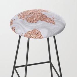 Rose Gold Glitter World Map on White Marble Bar Stool