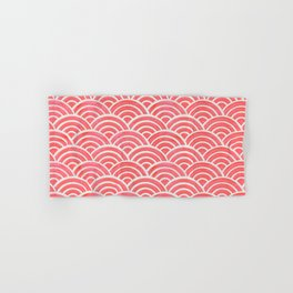 Japanese Seigaiha Wave Pattern – Coral Hand & Bath Towel
