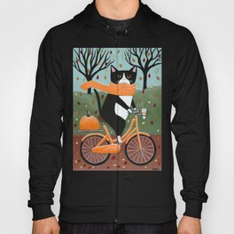 Tuxedo Cat Autumn Bicycle Ride Hoody
