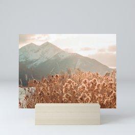 Golden Wheat Mountain // Yellow Heads of Grain Blurry Scenic Peak Mini Art Print