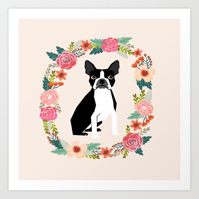 Boston Terrier floral wreath flowers dog breed gifts Art Print