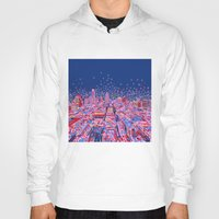 texas Hoodies featuring austin texas city skyline by Bekim ART