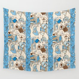 Books: Through the rabbit hole_Blue Sky and Cocoa Wall Tapestry