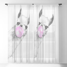 Bubble Gum Sneaky Llama Black and White Sheer Curtain