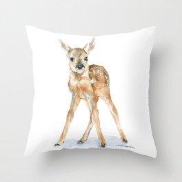 Deer Fawn Standing -Horizontal format - Watercolor Painting Throw Pillow