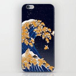 Shiba Inu The Great Wave in Night iPhone Skin