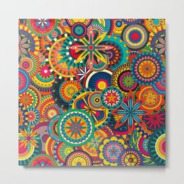 Funky Retro Pattern Metal Print