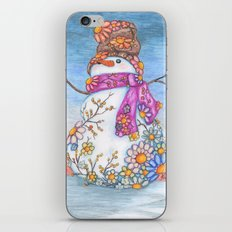 Sunset Daisy Snowman iPhone Skin