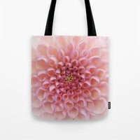 wall clock Tote Bags featuring Pink Chrysanthemum photo wall clock by Jocelyn Friis