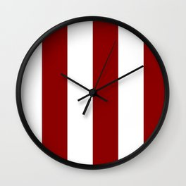 Wide Vertical Stripes - White and Dark Red Wall Clock