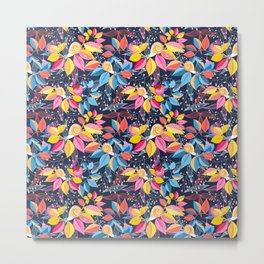 graphic seamless of colorful leaves and snails on a blue background Metal Print