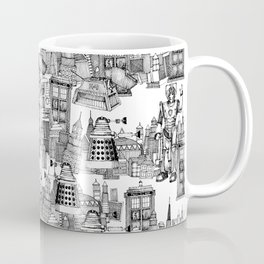 Doctor Who Toile de Jouy | 'Walking Doodle' | Black Coffee Mug