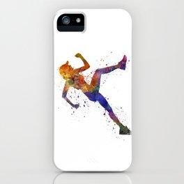 Woman runner jogger running iPhone Case