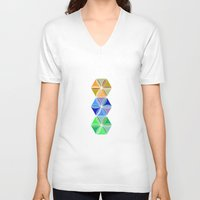 quilt V-neck T-shirts featuring august quilt by Ariadne