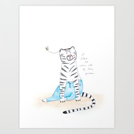 "Le White Tiger, ""I Like to Wear All of the Pants"" Art Print"
